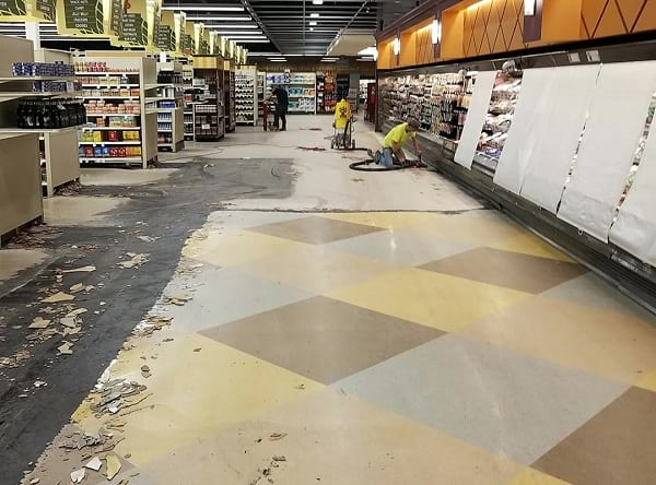 grocery store during VCT tile removal