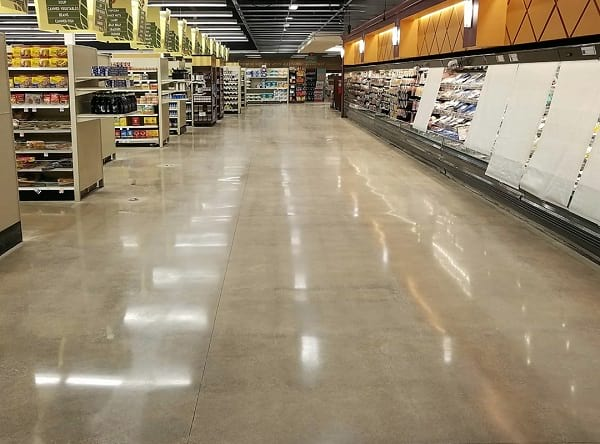 grocery store with polished concrete floor