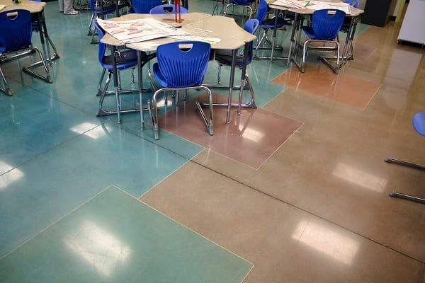 dyed decorative concrete polished floor with desks