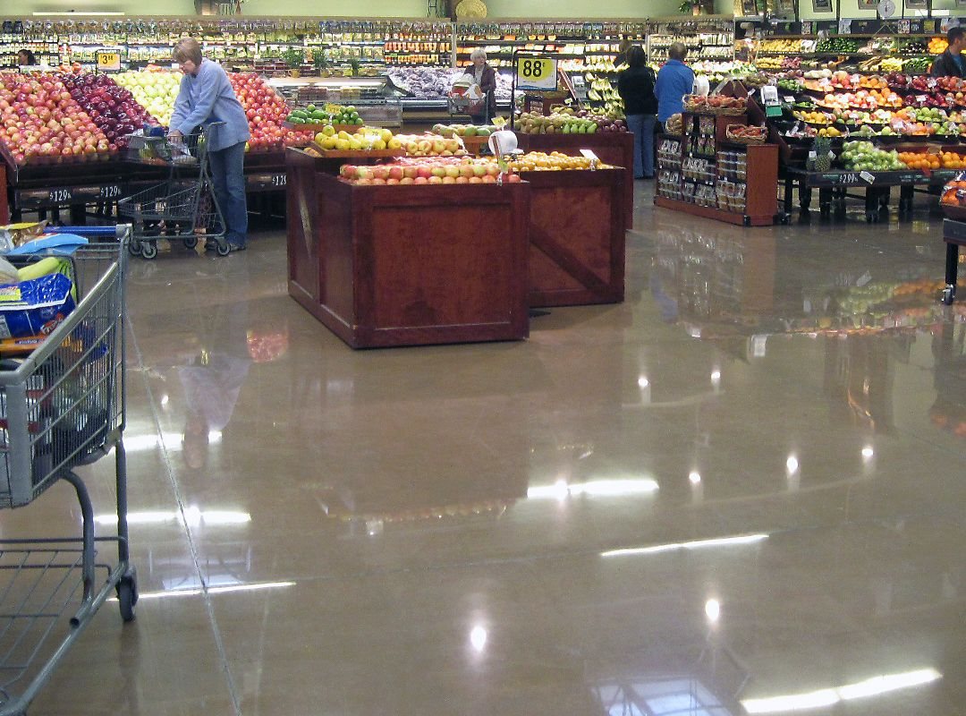 polished concrete floor of grocery store